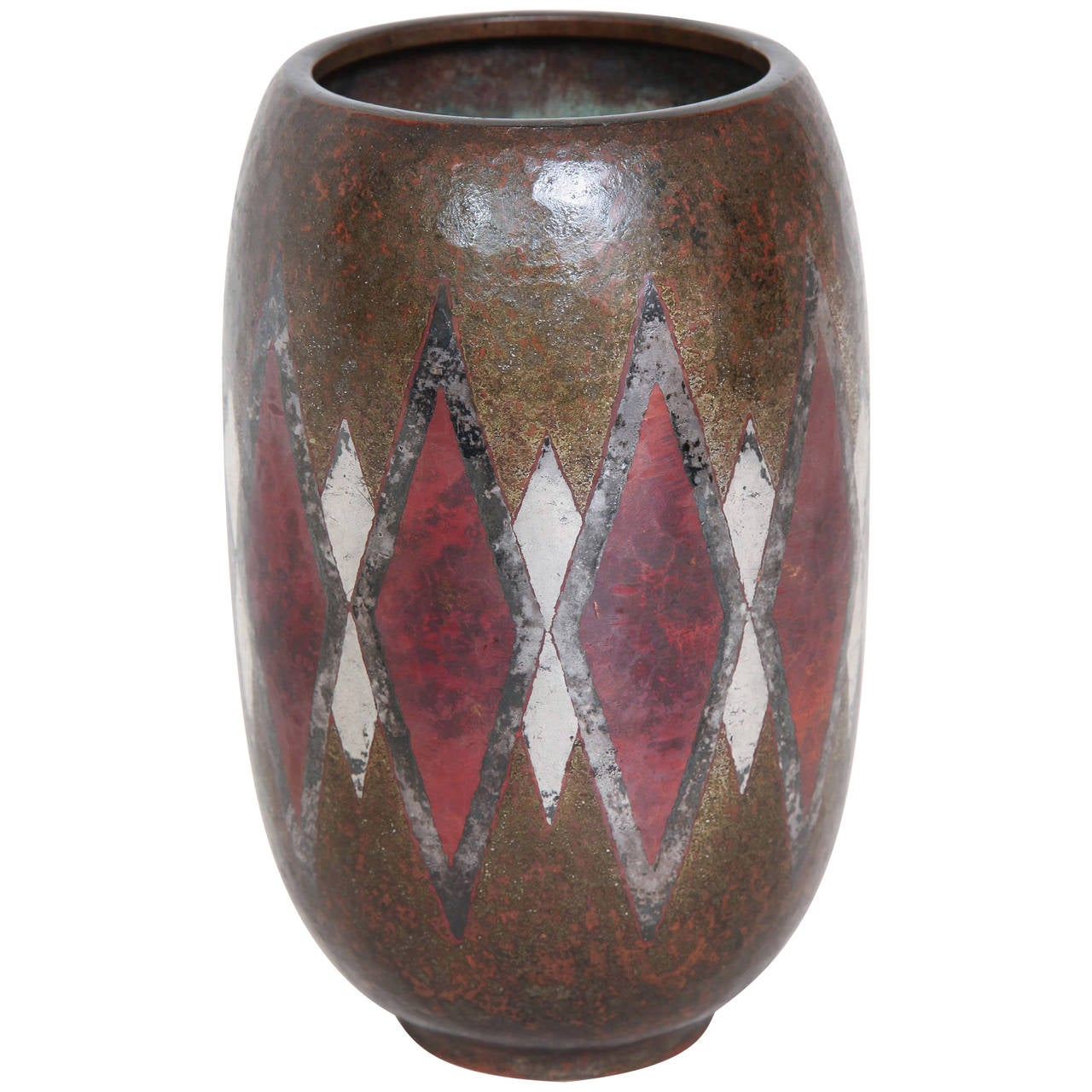 Claudius Linossier French Art Deco Dinanderie Vase For Sale