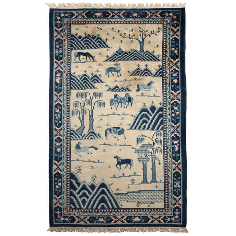 Late 19th Century Antique Chinese Carpet For Sale