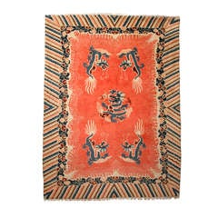 Antique Chinese Dragon Salmon-Colored Carpet