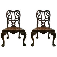 A Pair Of George II Solid Mahogany Side Chairs