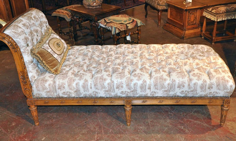 19th c louis xvi carved chaise image 2
