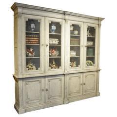 Antique Louis XVI Painted Bookcase Vitrine Display Cabinet