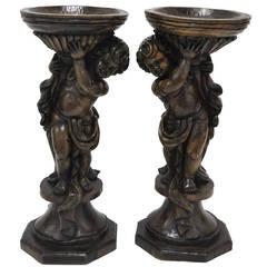 Pair of 18th Century Hand-Carved Walnut Jardinieres Planters