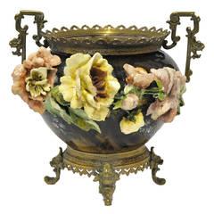 19th C. Barbotine Majolica Vase Cache Pot
