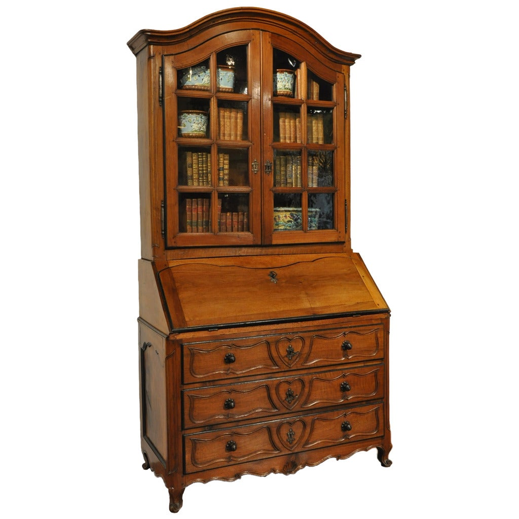 18th Century French Louis XV Carved Walnut Secretary Bookcase with Folding Top