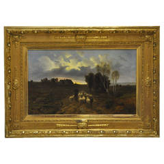 19th C. French Signed Oil on Canvas with Sheep