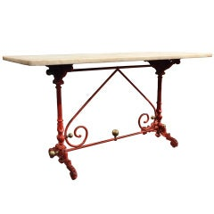 Antique French Pastry Butcher Table with Original Marble Top and Red Paint