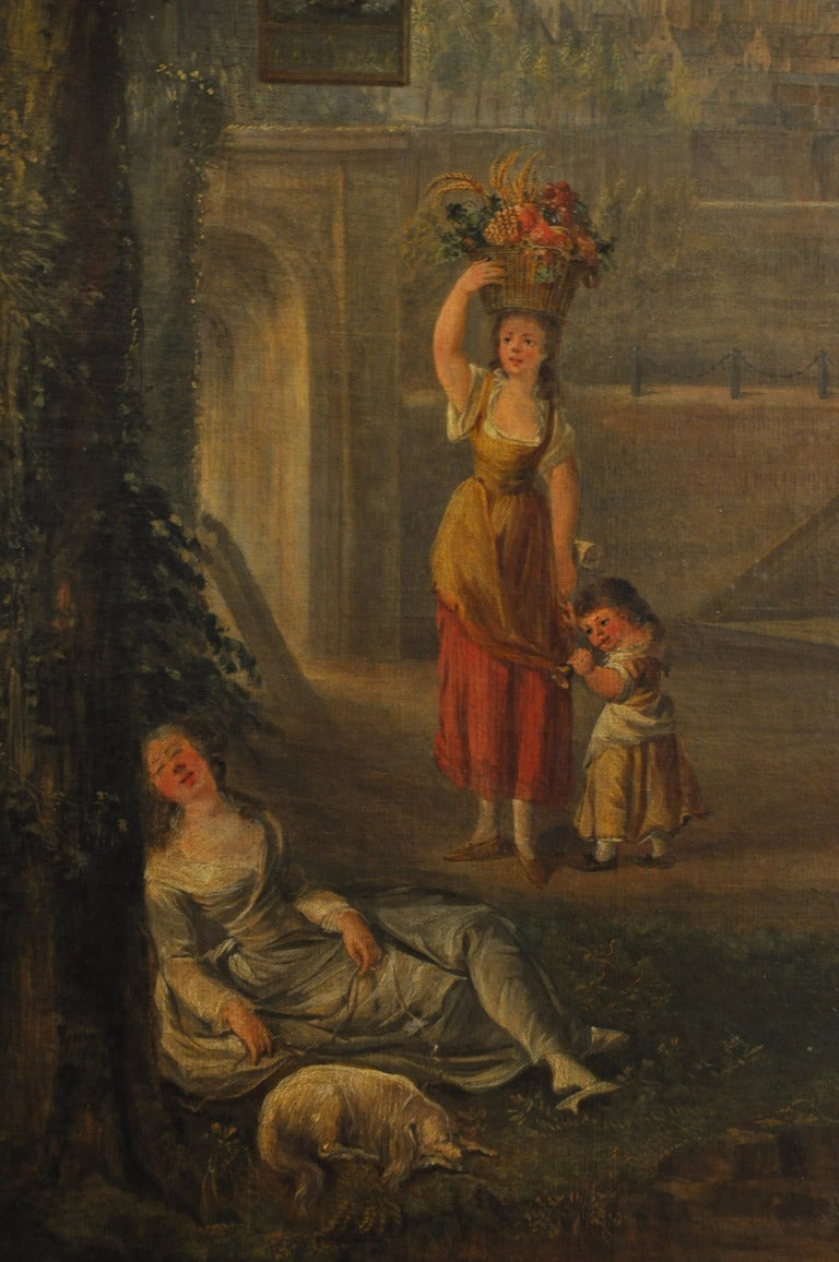 Large 18th Century French Oil Painting on canvas In Excellent Condition For Sale In Dallas, TX