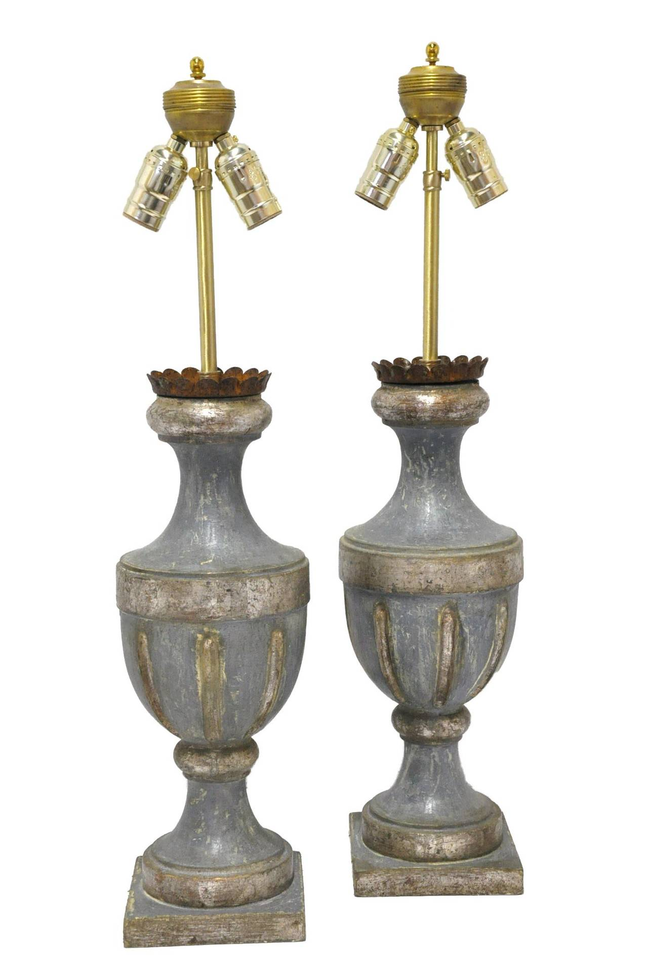 pair of italian painted wood lamps bases at 1stdibs. Black Bedroom Furniture Sets. Home Design Ideas