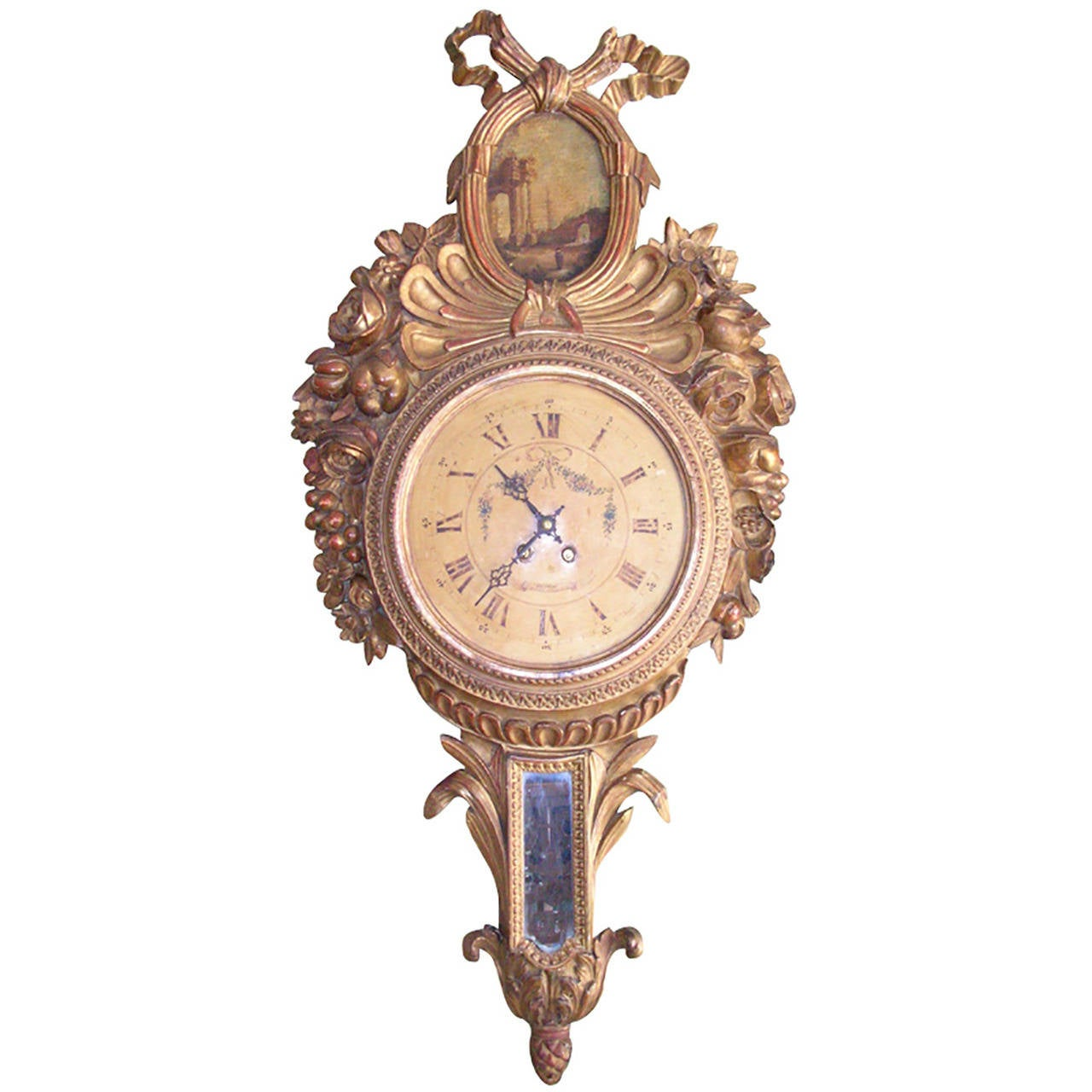 Th century french louis xvi carved giltwood wall clock