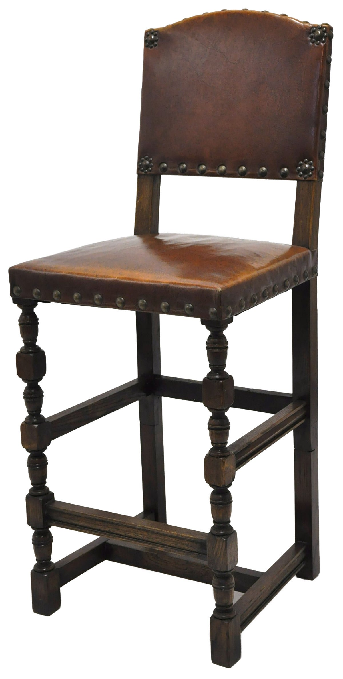 Set Of Six Bar Stools With Leather Circa 1900 At 1stdibs