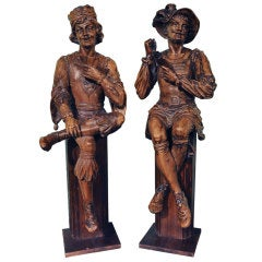 Pair of 18th Century Italian Walnut Carved Wood Statues