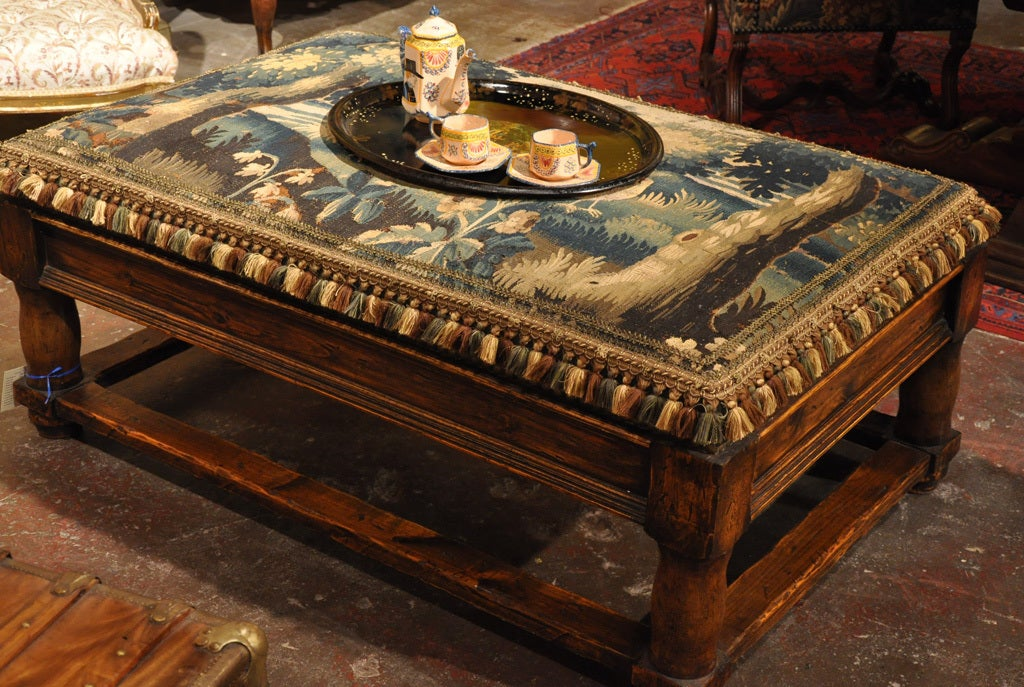 Walnut Coffee Table Ottoman With Antique Aubusson Tapestry