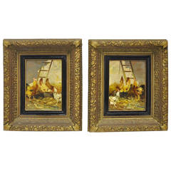 Pair 19th Century European Signed Chickens Paintings