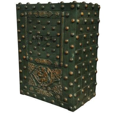 Large French Hobnail Iron Safe