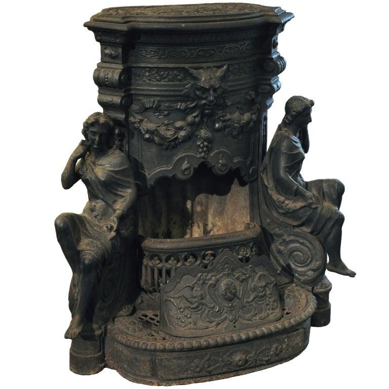 Ornate 19th Century Cast Iron Wood Stove 1 - Ornate 19th Century Cast Iron Wood Stove At 1stdibs
