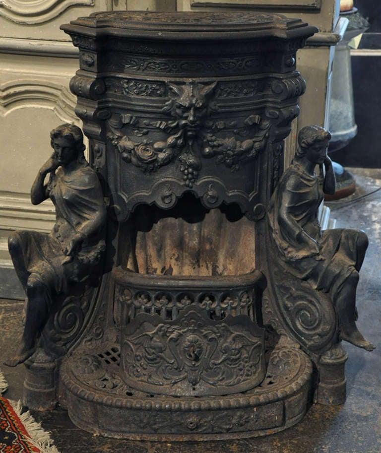 Ornate 19th Century Cast Iron Wood Stove At 1stdibs