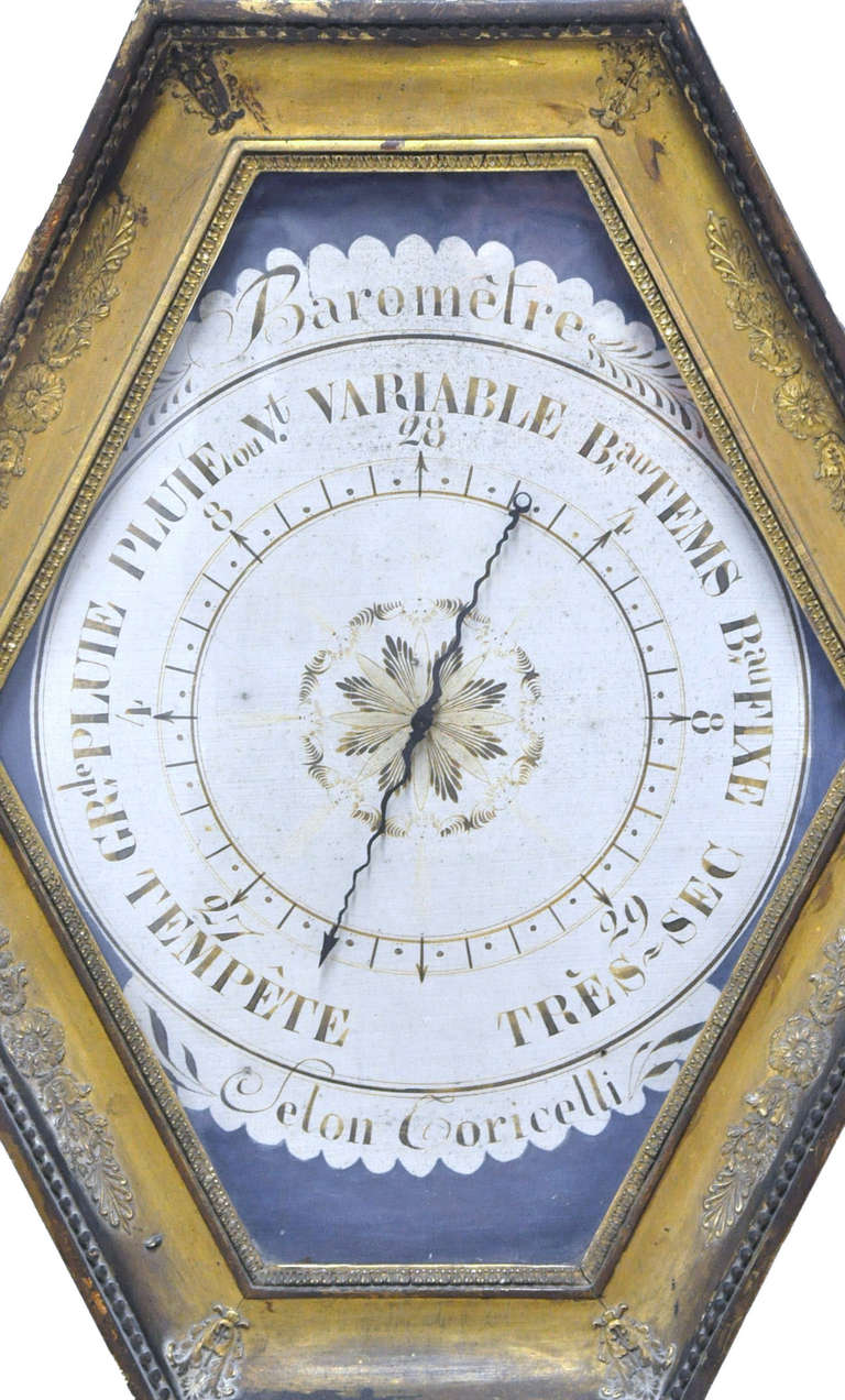 18th Century French Louis XVI Carved Giltwood Hexagonal Wall Barometer In Excellent Condition For Sale In Dallas, TX