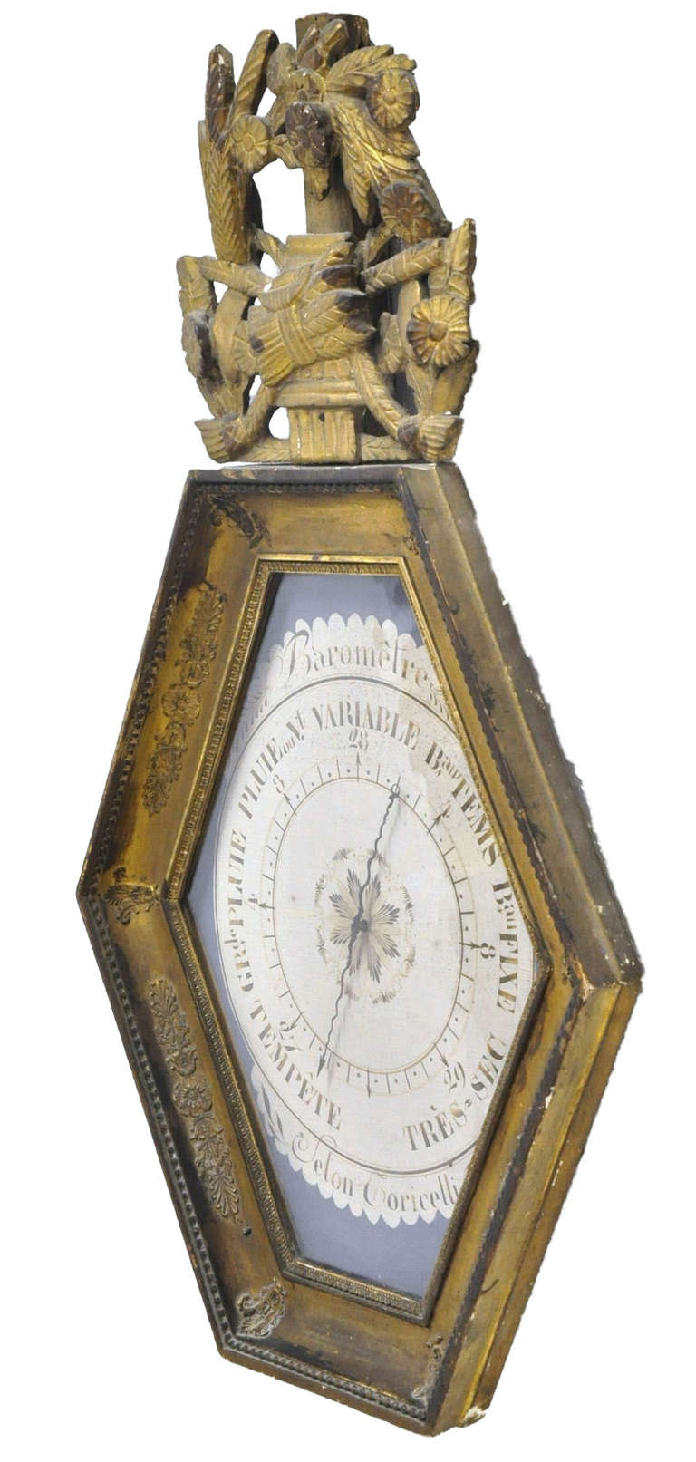 Glass 18th Century French Louis XVI Carved Giltwood Hexagonal Wall Barometer For Sale