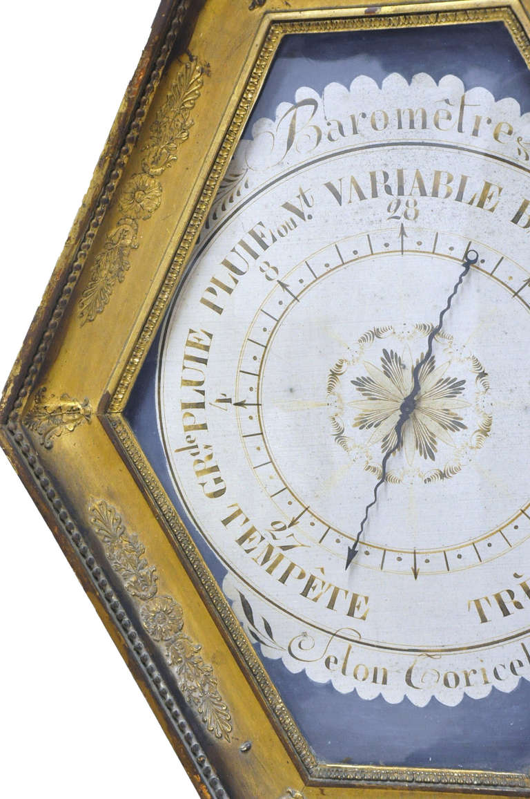 18th Century French Louis XVI Carved Giltwood Hexagonal Wall Barometer For Sale 1