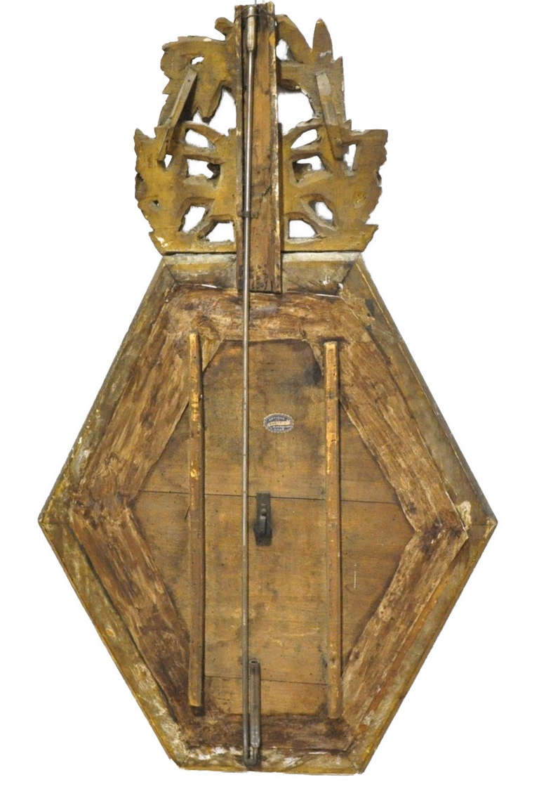18th Century French Louis XVI Carved Giltwood Hexagonal Wall Barometer For Sale 3