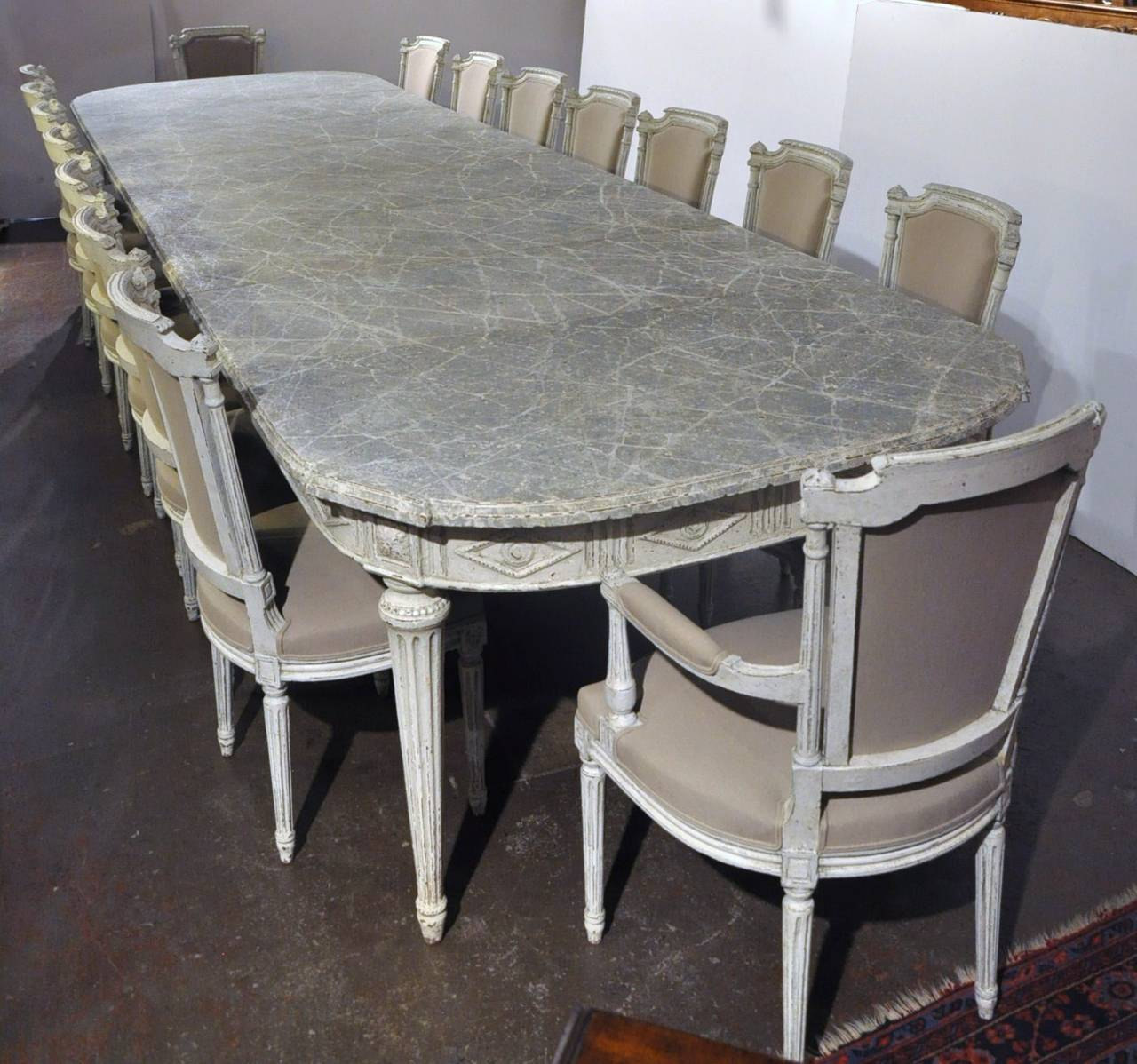 Large Antique 19th Century French Louis XVI Painted Dining