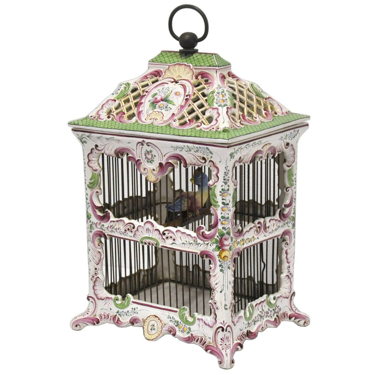 19th Century, French, Hand-Painted Porcelain Birdcage Lamp