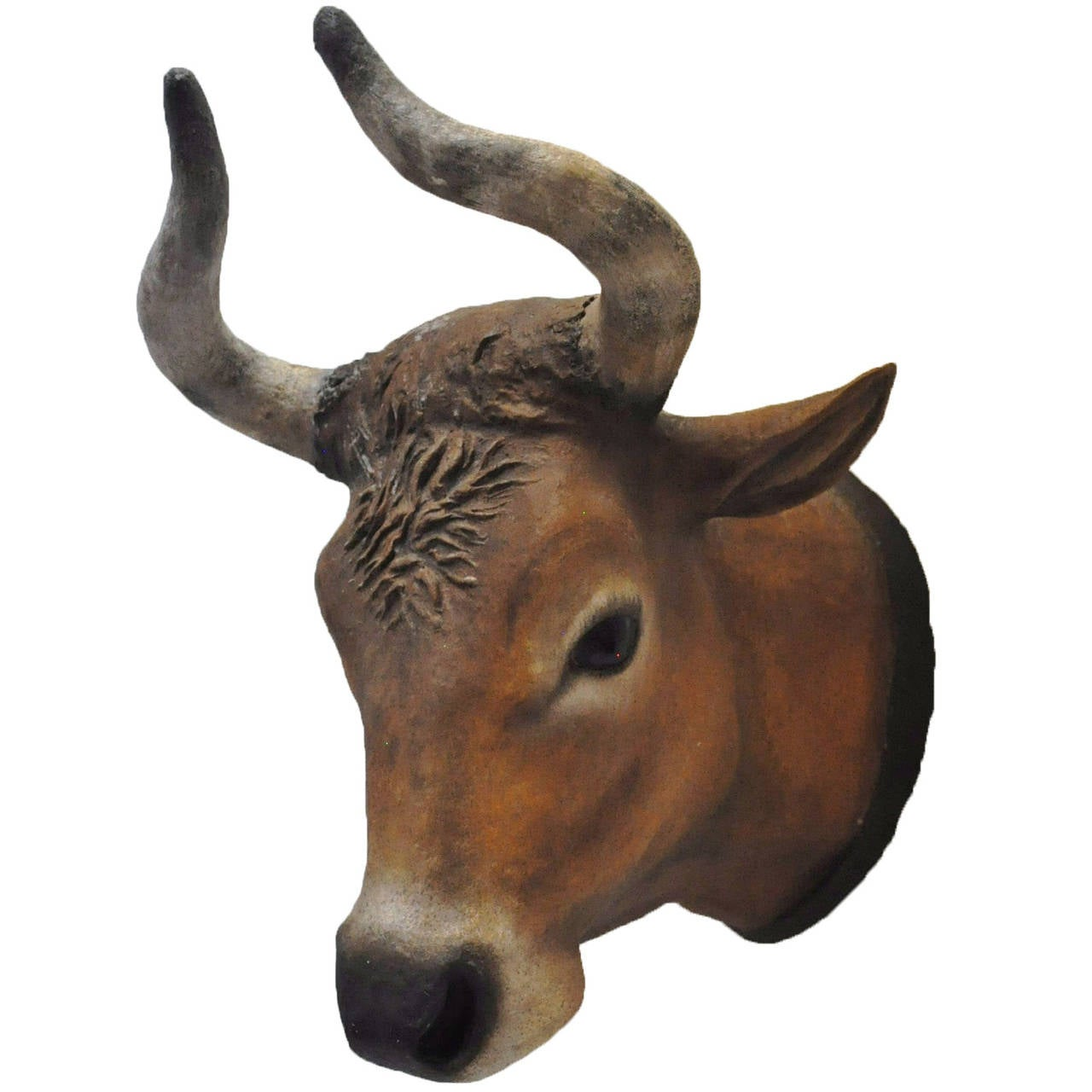 19th Century French Papier Mâché Painted Wall Hanging Cow Head from Normandy