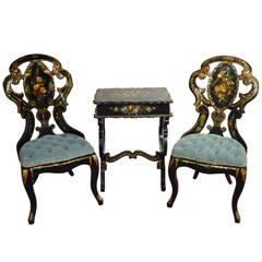 19th Century French Lacquered Gilt and Mother of Pearl Chairs and Table Set