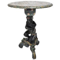 Antique Painted Italian Polychrome Blackamoor Pedestal Table
