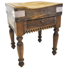 French Antique Wood Butcher Block Table