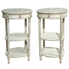 Pair of Antique Painted Bedside End Tables