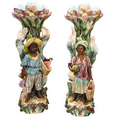 Pair of 19th Century French Hand-Painted Barbotine Blackamoor Vases