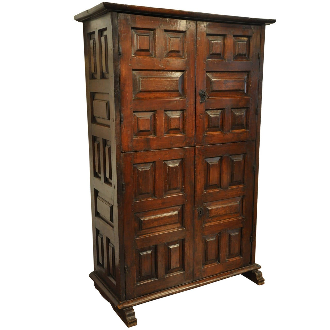 18th Century Spanish Four Door Walnut Cabinet With Raised Panels At