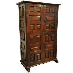 18th Century Spanish Walnut Cabinet with Raised Panels