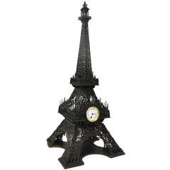 Antique 19th Century Wood Carved Eiffel Tower with Clock in Working Condition