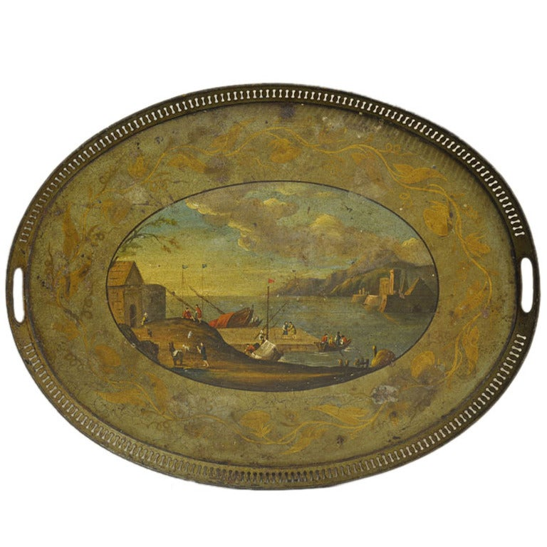 19th Century French Hand-Painted Oval Tole Tray with Harbor Scene