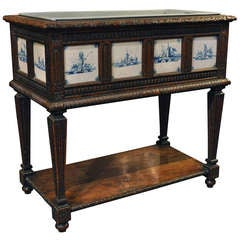 19th C. Carved Louis XVI Style Wood Planter with Delft Blue & White Tile Insets