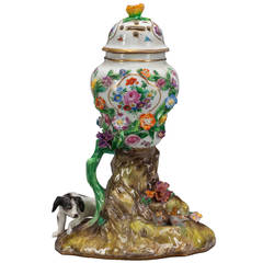 18th Century German Meissen Floral Porcelain Potpourri with Dog and Birds