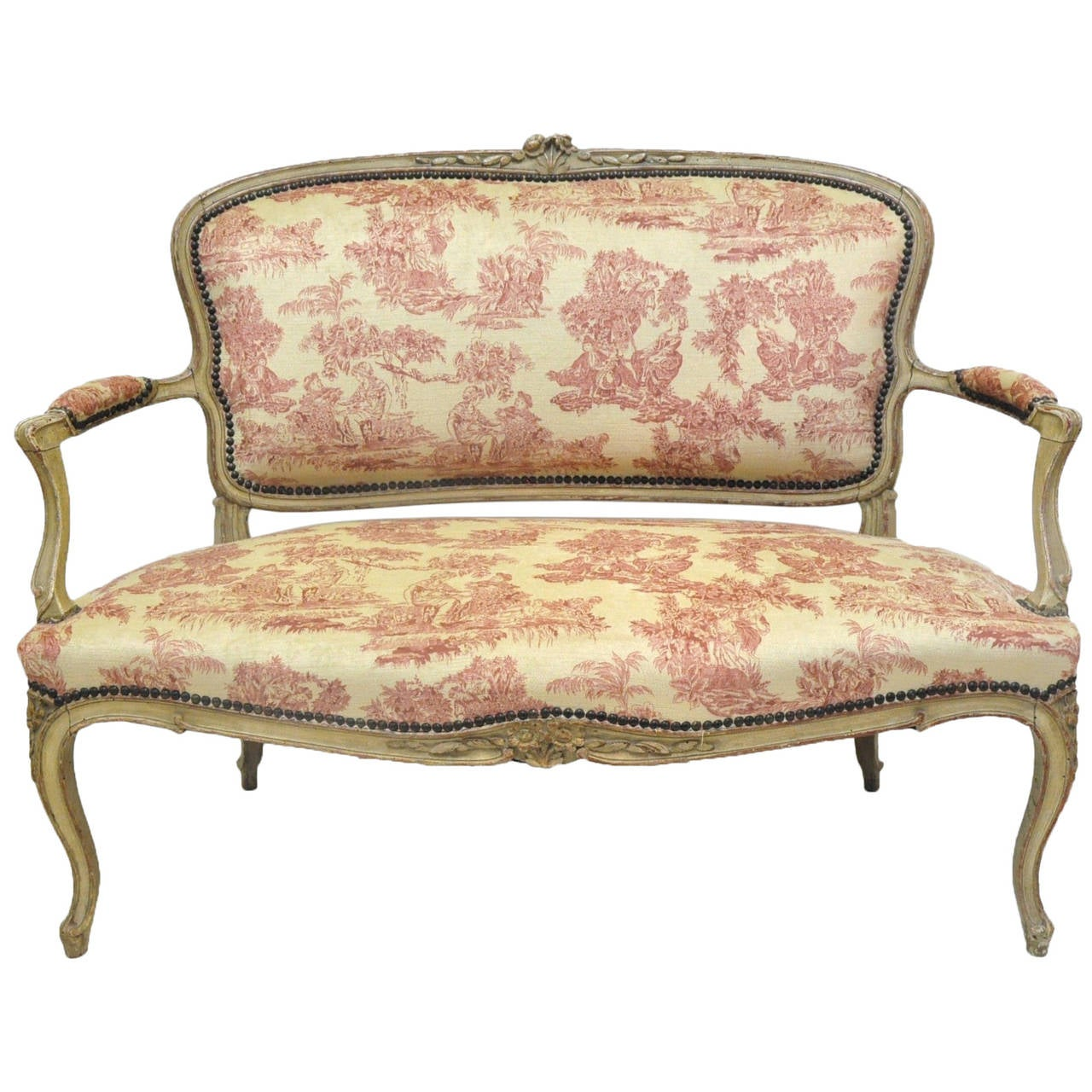 19th Century French Louis XV Carved Painted Two-Seat Settee with Vintage Fabric