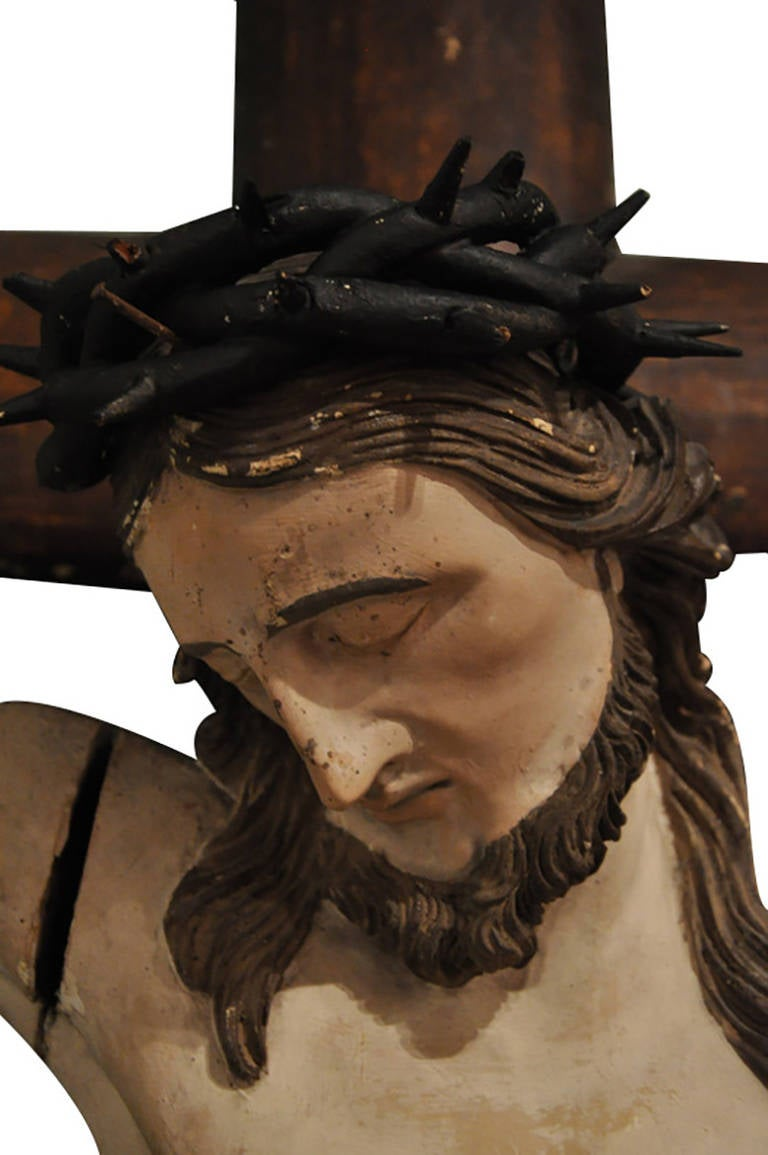 Polychromed 19th Century French Hand Carved Polychrome and Painted Life-Size Crucifix For Sale