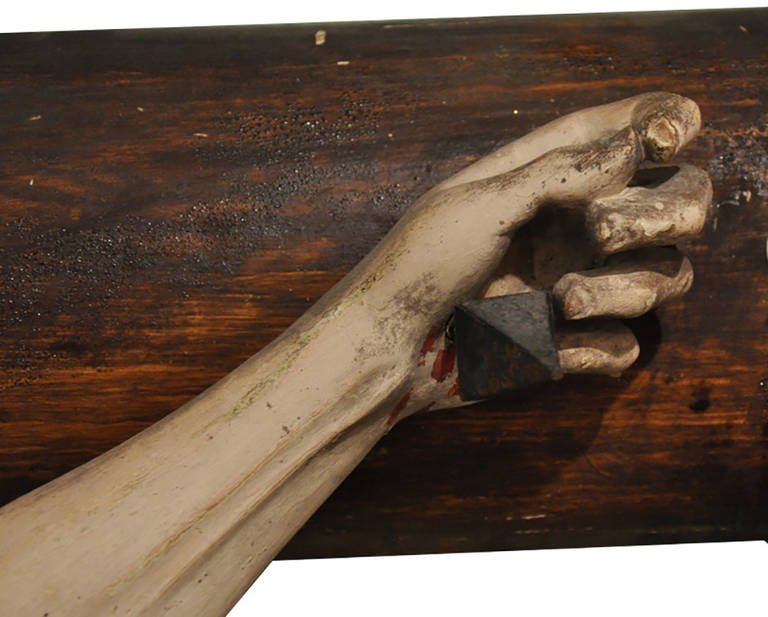 Wood 19th Century French Hand Carved Polychrome and Painted Life-Size Crucifix For Sale