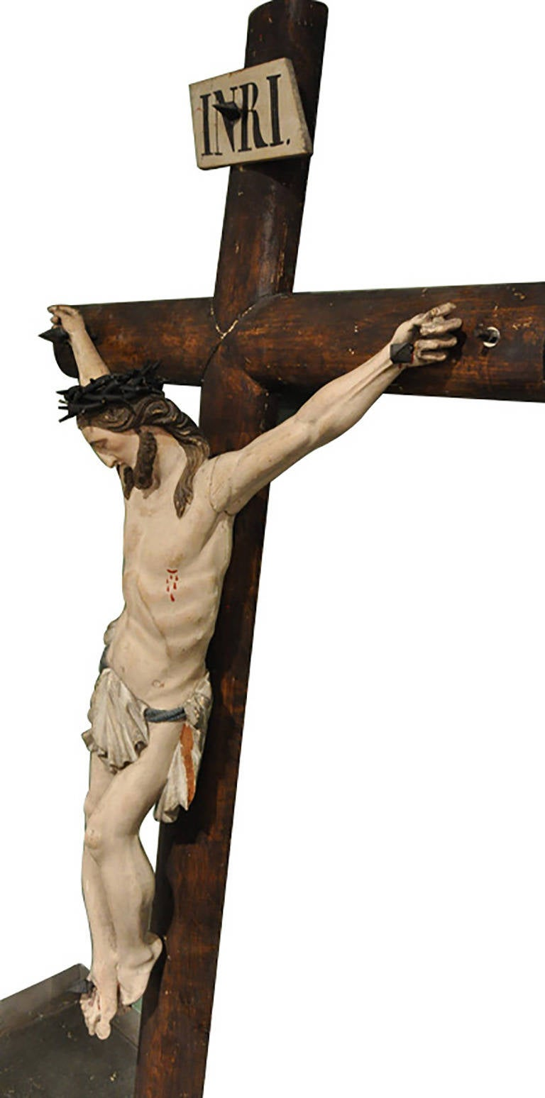 19th Century French Hand Carved Polychrome and Painted Life-Size Crucifix For Sale 1