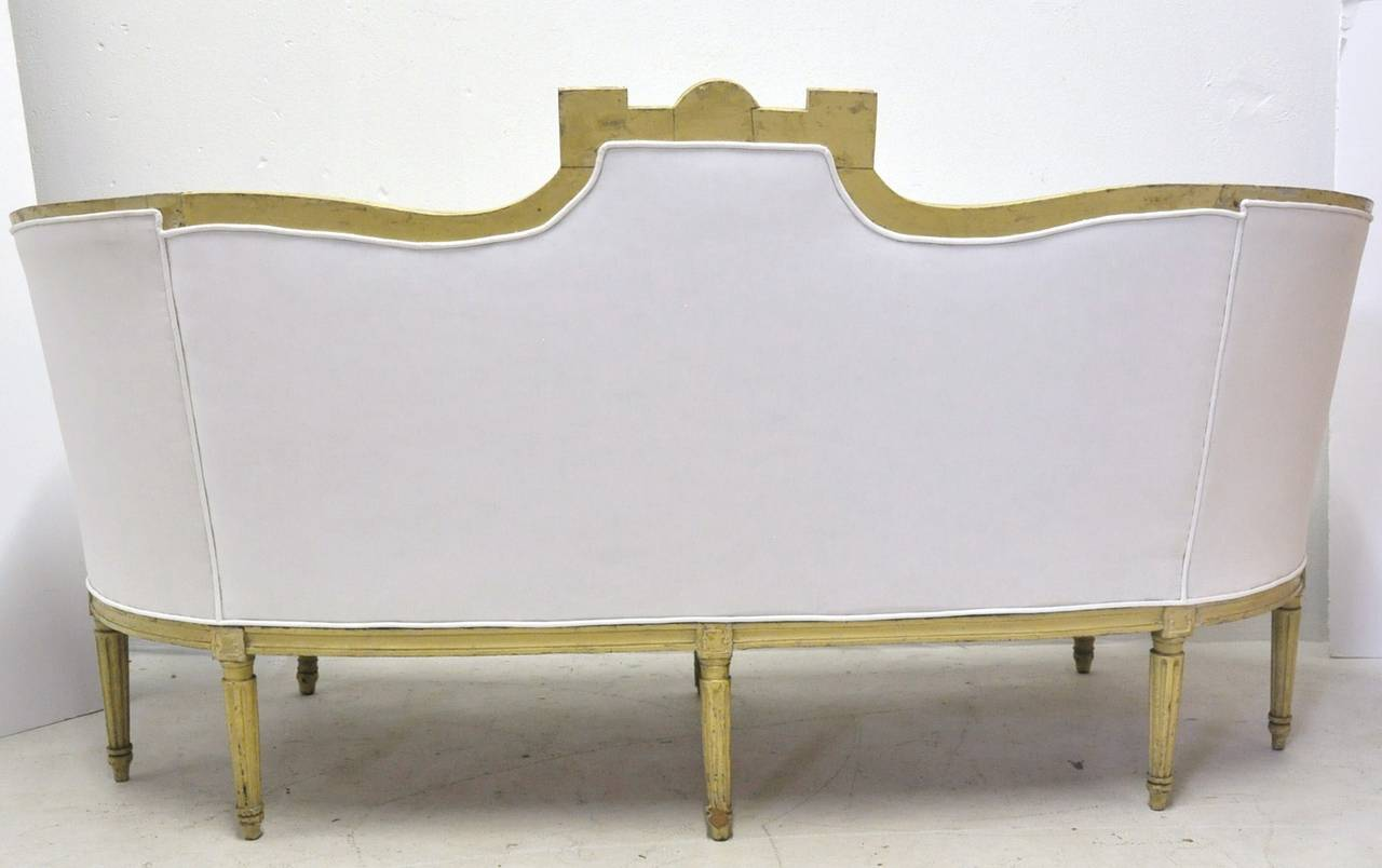 19th century louis philippe curved painted canape sofa with white muslin at 1stdibs