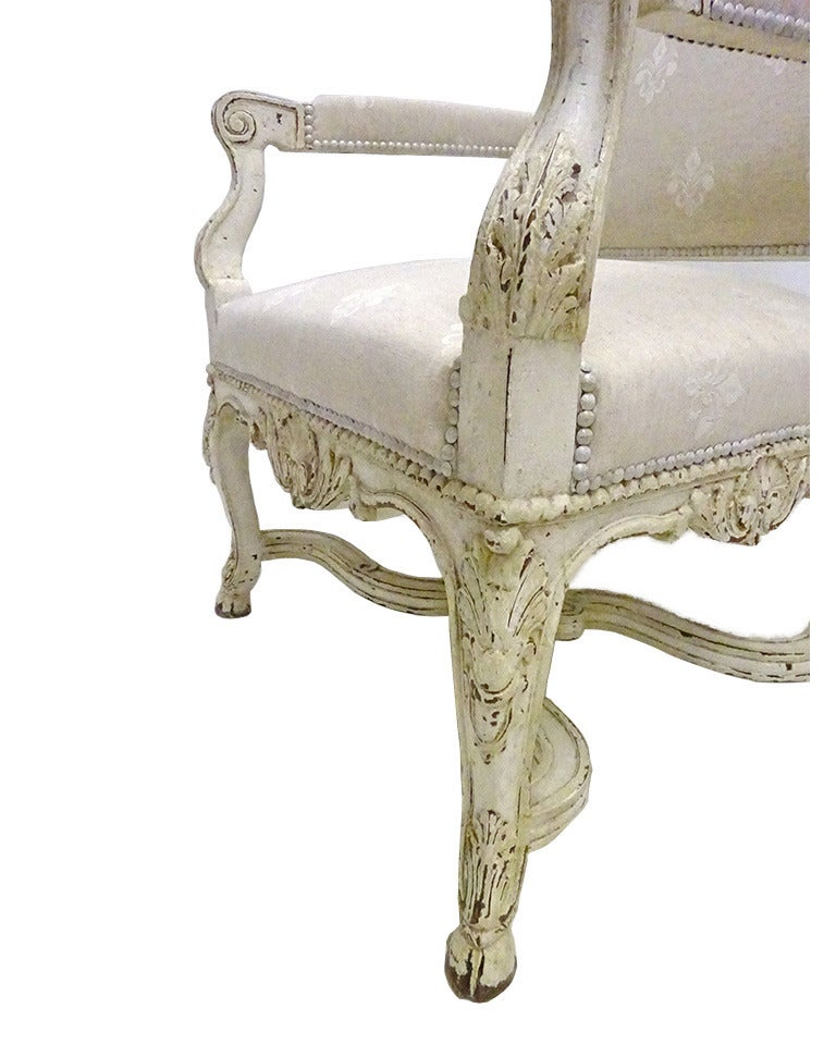 French Pair of 19th Century Louis XIV Carved Painted Armchairs with Fleur-de-Lys Fabric For Sale