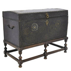 18th C. Leather Trunk on Wooden Base