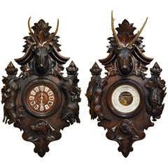 PAIR OF BLACK FOREST CLOCK & BAROMETER (c:1870)