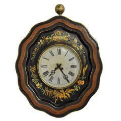 19th Century French Oval Hand-Painted Tole Wall Clock with Floral Motifs