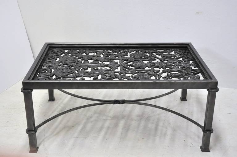 polished iron coffee table base made with 19th century french balcony gate for sale at 1stdibs