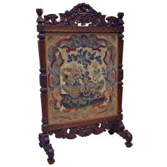 19th Century, French Hand-Carved Walnut Needlepoint Fireplace Screen
